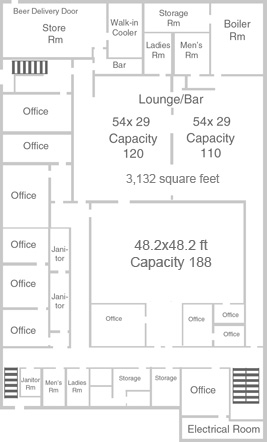 Events Centre basement floor plan for rental space.